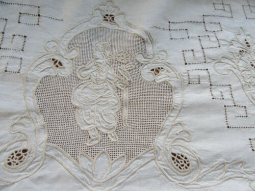 Vintage Figural Tablecloth Lace Embroidery Cherubs & Lady w Flower  68x136