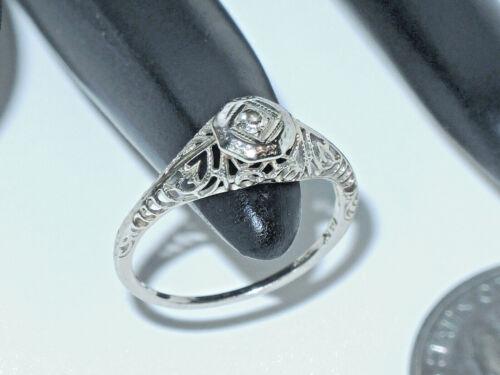 14K 1.1 Grams White Gold Edwardian Filigree Ladies Diamond Ring, Size 5.75
