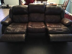 Real leather reclining sofa/couch