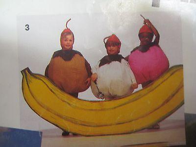 Vtg Simplicity BANANA SPLIT COSTUME for TRIPLETS Sewing Pattern CHILD Sundae - Banana Costume For Kids
