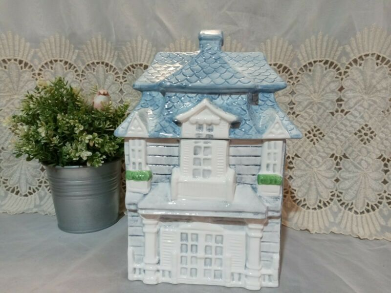 Vintage Acme Victorian House Cookie Jar Ceramic Kitchen Canister Blue NIB
