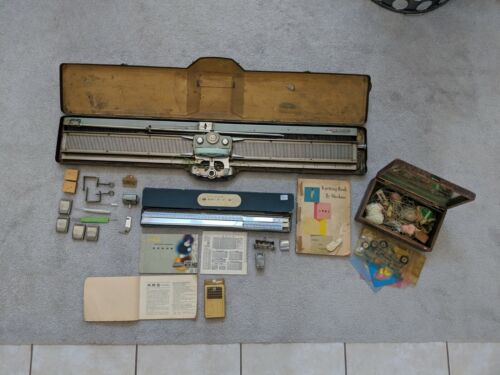 Vintage ARS Knitting Machine with Original Case for Handmade Items and Crafting