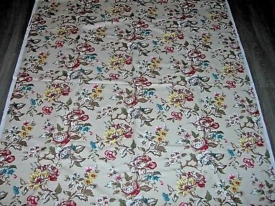 Vintage linen climbing rose floral country house style length fabric