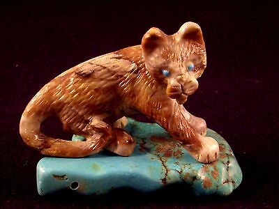 Wilfred Cheama-Mountain Lion-Zuni Fetish-Native American-Stone Carving