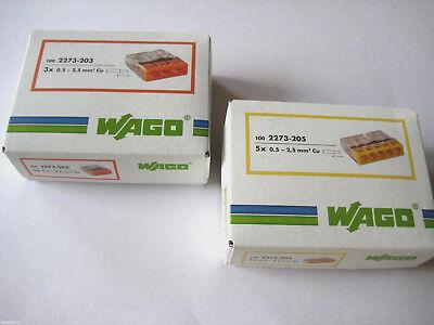 WAGO Klemmen 100x 2273-203 + 100x 2273-205 SET Wagoklemmen für 3 / 5 x1,5 - 2,5