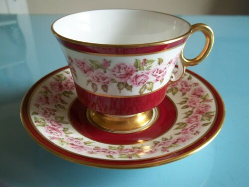 Vtg Adderley PINK ROSE Garland Floral On BERRY/GOLD Cup Saucer