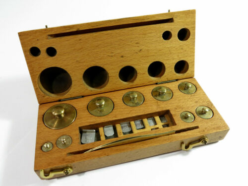 COMPLETE!!  Antique Laboratory Weight Set with Fractionals in Solid Maple Box
