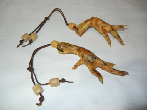 TWO Leather Strung   Dry Chicken Witch Foot Wood Beads Voodoo Haiti Louisiana