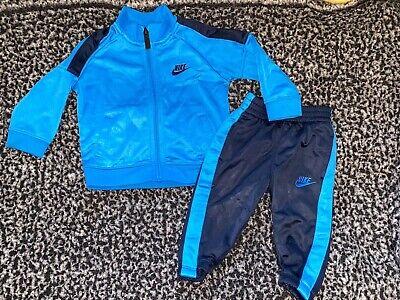 NIKE JOGGING SUIT Pants Jacket Set Blue/Navy Blue Baby Boy's Sz 6/9M Athletic