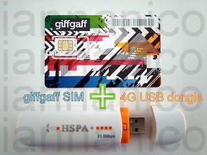 4G/HSPA+ USB dongle + UK PAYG giffgaff Trio SIM + Free postage + £5