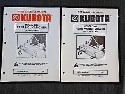 Kubota L2550 L2850 B7200 B9200 Tractor 3562 Mower Deck Service Parts Oper Manual