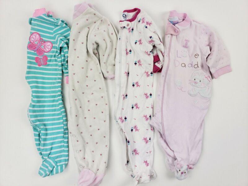 (4) 3-6 Months Sleepers Lot Garanimals Gerber Etc Baby Girl 3 Zip Up Footed