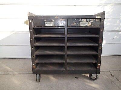 Vintage Bank Industrial Metal Vault Cart Teller Drawer Push Warehouse Lefebure