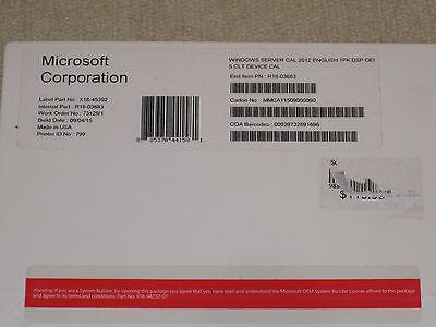 Microsoft Windows Server 2012   5 Device Client Access License R18 03683