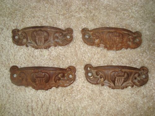 VINTAGE ORNATE STEEL DRAWER PULLS HANDLES LOT OF 4