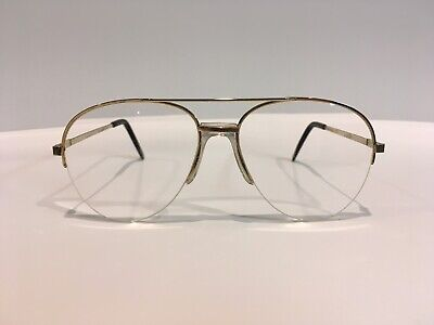 Personal Optics Eyeglasses Vintage Aviator Gold Metal Frames Clear Lenses Rx