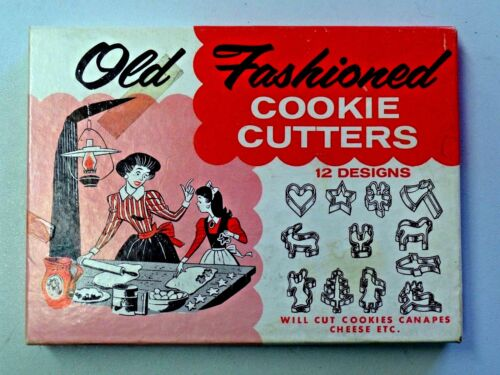 Vintage Old Fashioned Cookie Cutters 12 Designs in Original Box Metal Cutters