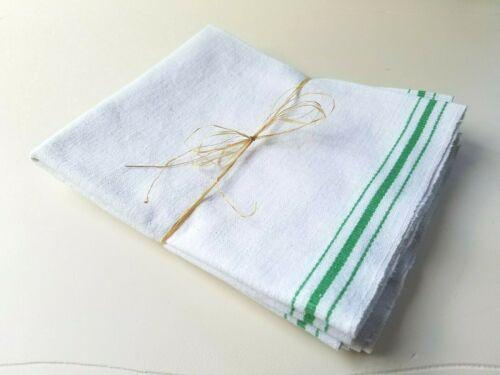 (3) Vintage Natural Flax Cotton KITCHEN TEA TOWELS Green Stripe Farmhouse Chic