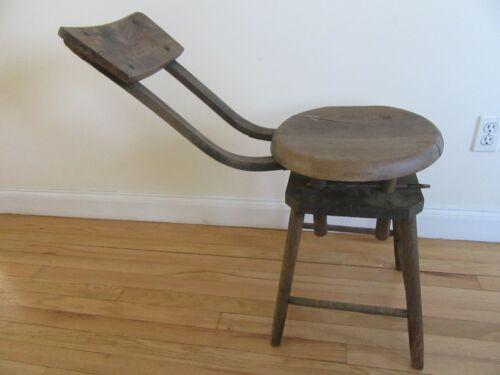 Antique Dentist or Doctor Wooden Adjustable Primitive Examination Chair