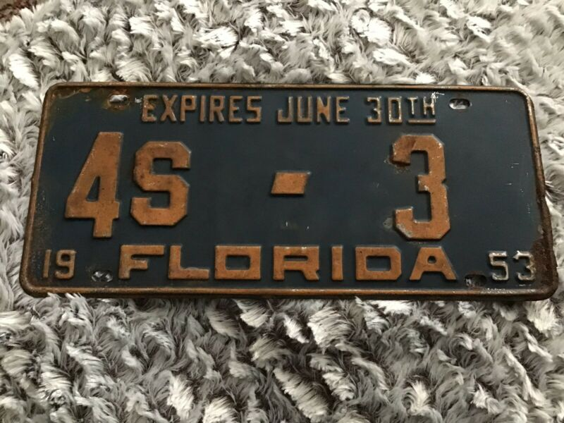 Florida License Plate 1953 Pinellas 4s-3