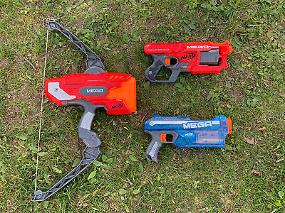 Lot Of 3 Nerf Mega Dart Blasters Thunderbow Cycloneshock Magnus, All Tested