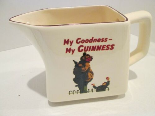 "VINTAGE GUINNESS CERAMIC WATER PITCHER 32 oz BEAR  ""MY GOODNESS MY GUINNESS"" AD"