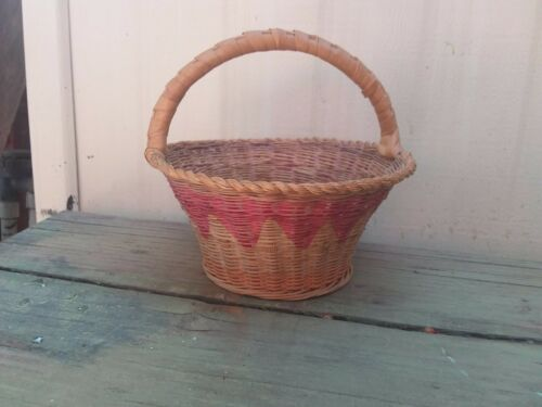 "Vintage Woven Wicker Easter Bonnet Basket 7"" Tall Holiday Primitive"