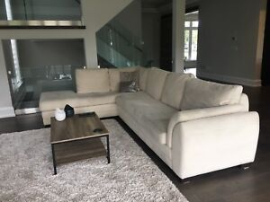 Off White Suede Sectional and Two Chairs