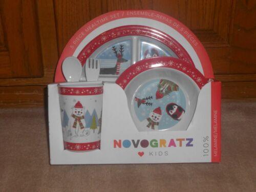 NEW, NOVOGRATZ KIDS 5 PIECE MEALTIME SET, WINTER PENGUIN, BEAR, DEER