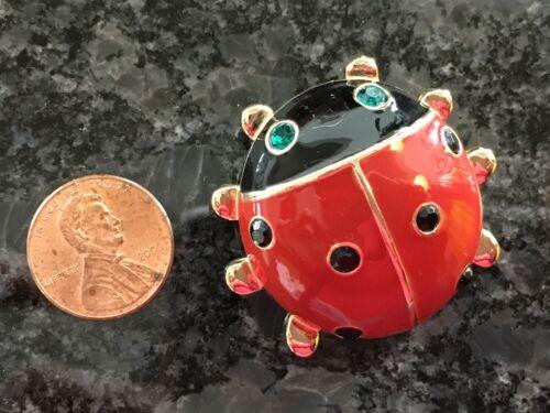 Lady Bug Pin Brooch Enamel Gold Tone Emerald Eyes Fashion Jewelry CUTE!