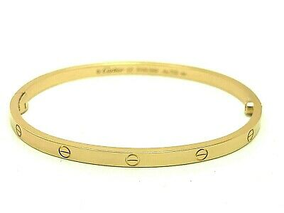 Cartier Love Bracelet 18k 750 Yellow Gold Bangle Small Size 17 Authentic 19.7g