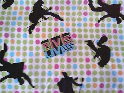 Elvis Early Days '56 Lime Green Hot Pink Dots  Fat Quarter  NEW    OOP Hot Pink Lime Green