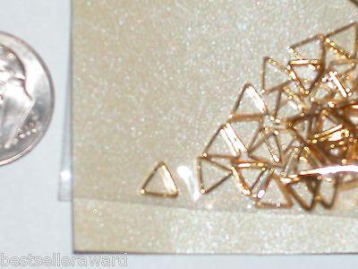 Metal Plated Charm - 12 Miniature dollhouse TINY little Gold plated Metal TRIANGLE charm flatback 6mm
