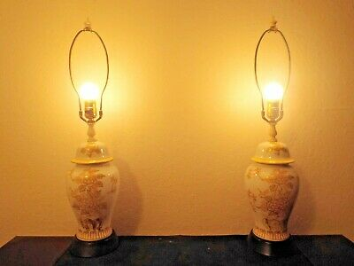 LAMPS PAIR 27 H 3-WAY ASIAN THEMED FANCY PORCELAIN ON METAL THEMED TABLE LAMPS - $69.69