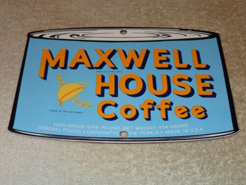 """VINTAGE MAXWELL HOUSE COFFEE CUP DIE-CUT CAN 7 3/4"""" PORCELAIN METAL GAS OIL SIGN"""