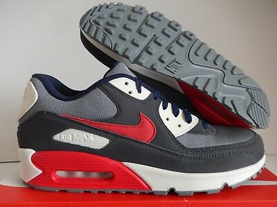 NIKE AIR MAX 90 ID DARK GREY-WHITE-NAVY BLUE-RED SZ 12