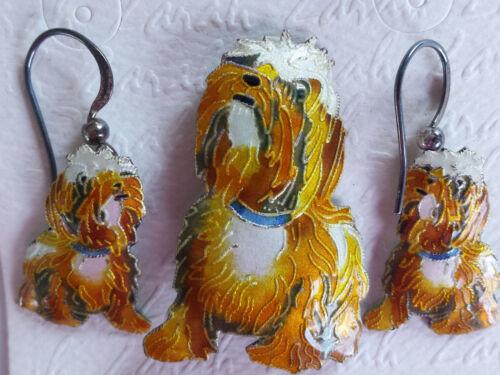 Vintage Zarah Sterling Silver Linda Bolhuis Enamel Shaggy Dog Earrings Pin Set
