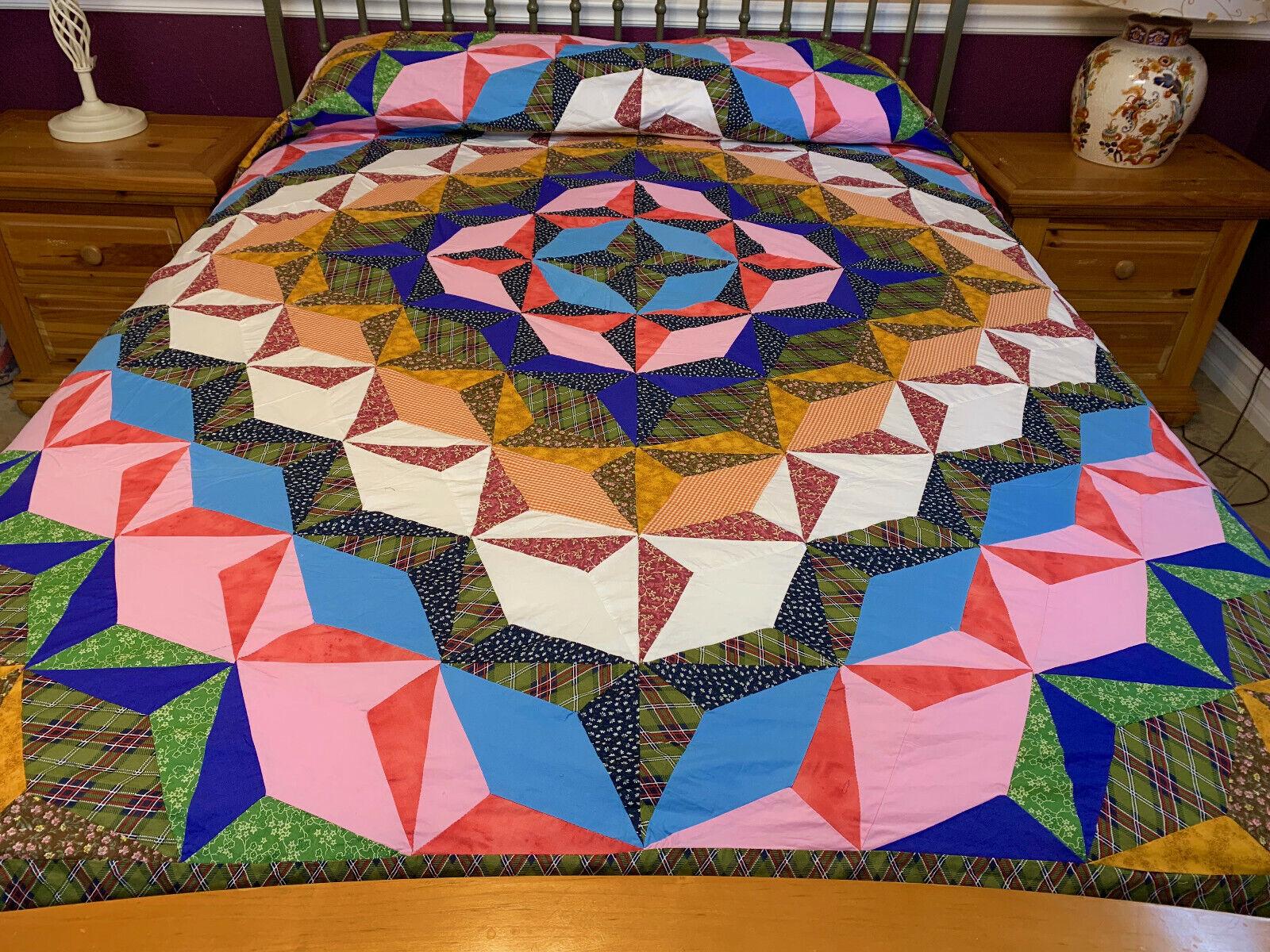 Machine pieced  Crystal Star  patchwork Queen size quilt top
