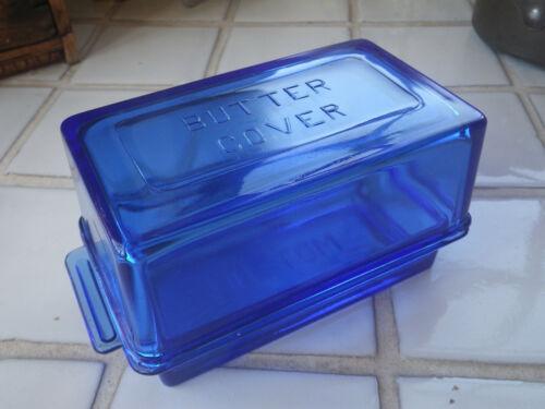 Hazel Atlas Blue One Pound Butter Dish Embossed Vintage