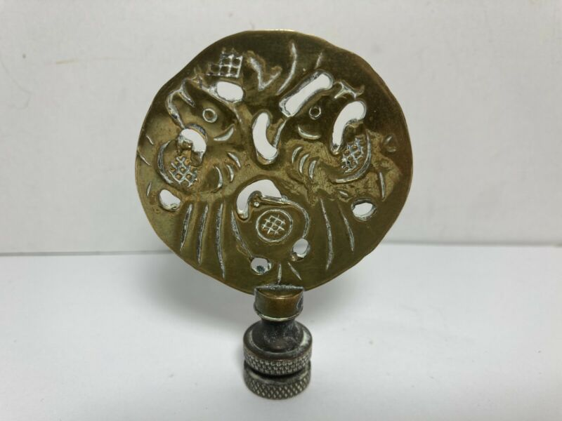 """LAMP FINIAL ORNATE Vintage Brass Chinese Style Birds  2.75"""""""