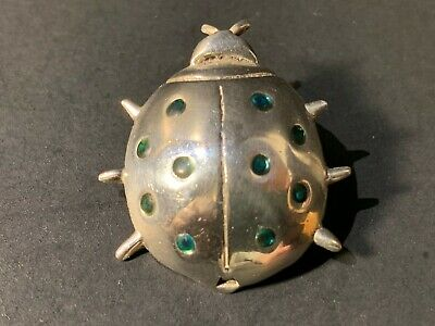 Vintage Sterling Silver Lady bug w/ Green Dots Brooch/Pin 1 by 1 -