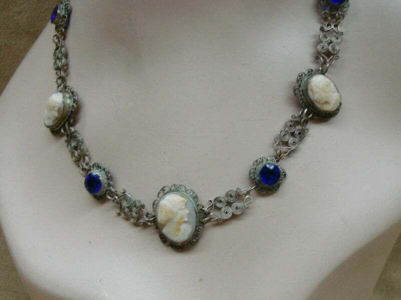 RARE ANTIQUE VICTORIAN EUROPEAN 800 SILVER FILIGREE CARVED SHELL CAMEO NECKLACE!