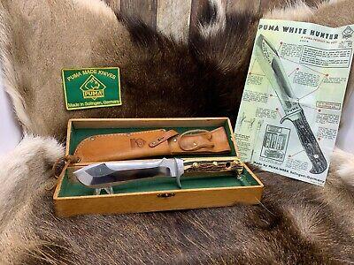 "Pre 1964 Puma 6377 White Hunter Knife Stag Handles Sheath Presentation Box ""A2"""