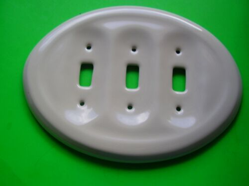 VINTAGE ONE WHITE PORCELAIN WALL TRIPLE SWITCH PLATE COVER