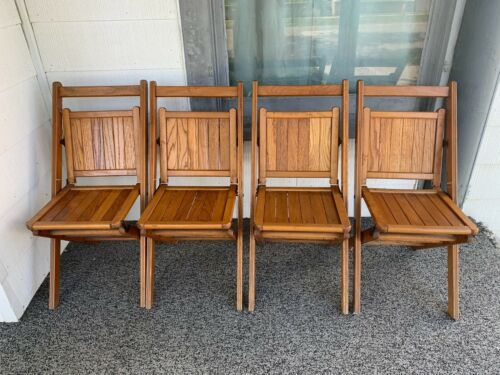 Vintage Mid Century Modern Folding Set of 4 Slatted Wood Chairs