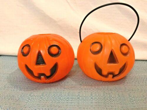 """Set of 2 Vintage 1960s Pumpkins Plastic Candy Pail Bucket 1Handle Blow Mold 3.5"""""""
