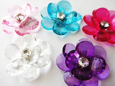 "6 Acrylic Crystal 2"" Big Flower Jewel Brooch/Bead/Rhinestone/DIY Craft K65-Color"