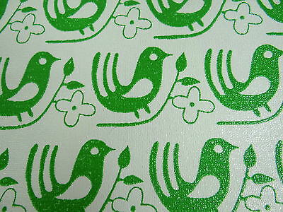 Vtg Retro Wallpaper Danish ? la mode 70s Unripe Birds Population Art 54 sq ft 31ft x 21in