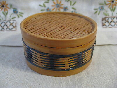 (Small Round Basket Trinket Storage Box w Lid ~ woven Reed Rush Bamboo Sturdy EUC)