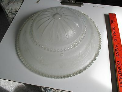 Vintage Frosted Ceiling Light Shade Glass Vine Design 12 inch diameter